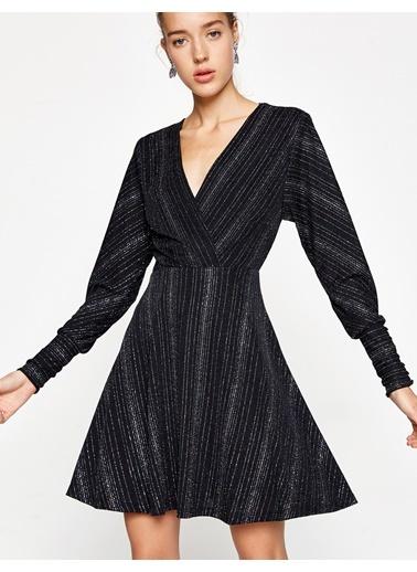 Payetli Kloş Elbise-Koton